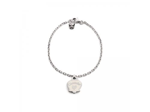 Bracciale forzatina Chantecler in argento con campanella in smalto bianco