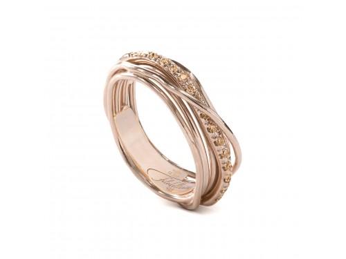 Anello Filodellavita 7 Fili in Oro Rosa e Diamanti Brown