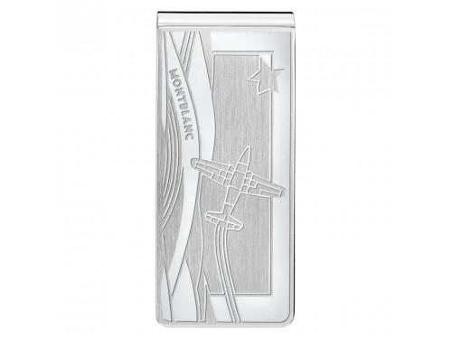 Fermasoldi Montblanc in acciaio pregiato con areoplano inciso