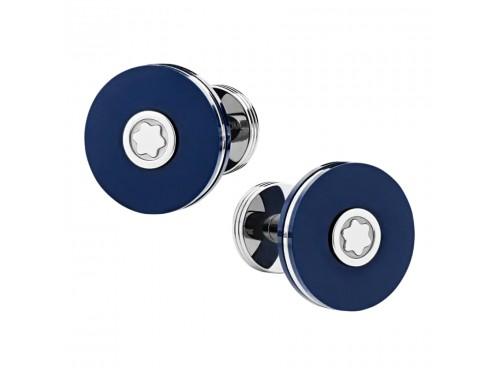 Gemelli Montblanc Pix in acciaio pregiato e resina blu