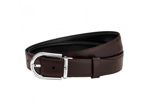 Cintura Montblanc in pelle marrone e nero reversibile