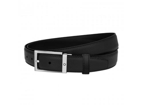 Cintura Montblanc in pelle nera stampata con fibbia rettangolare