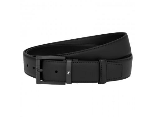 Cintura Montblanc in pelle nera con fibbia quadrata nero opaco