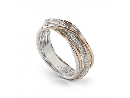 Anello Filodellavita 7 Fili in Oro Rosa e Argento con Diamanti Bianchi 0,21ct - Rodio bianco