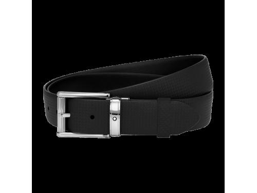 Cintura Montblanc casual in pelle nera Extreme con fibbia finitura lucida