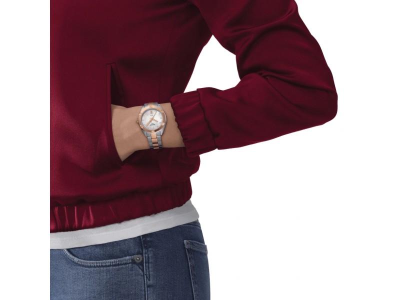 Orologio Tissot PR 100 Sport Chic con Diamanti e Quadrante in Madreperla Bianca e Acciaio in Pvd Oro Rosa