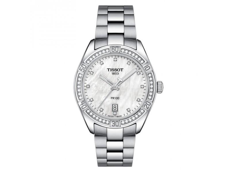 Orologio Tissot PR 100 Lady Sport Chic con Quadrante in Madreperla Bianca e Diamanti