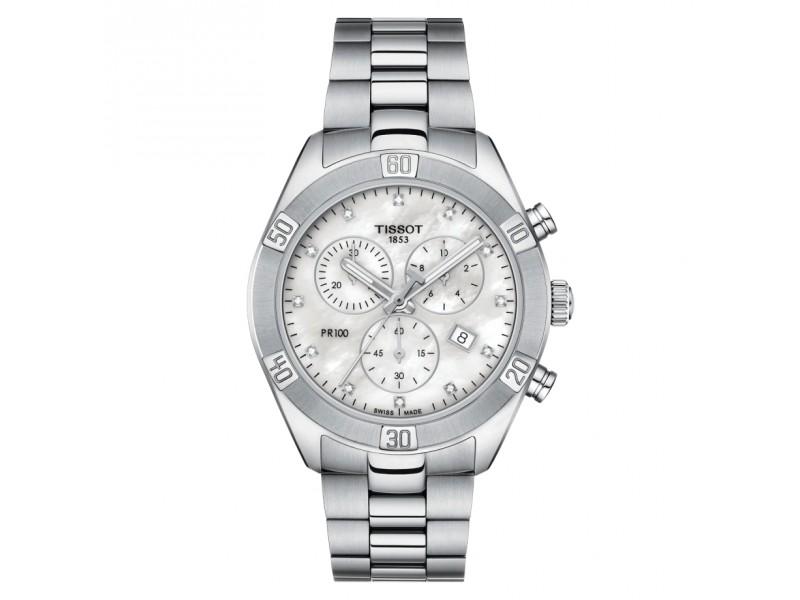 Orologio Tissot PR 100 Sport Chic Chronograph con Quadrante in Madreperla Bianca e Diamanti