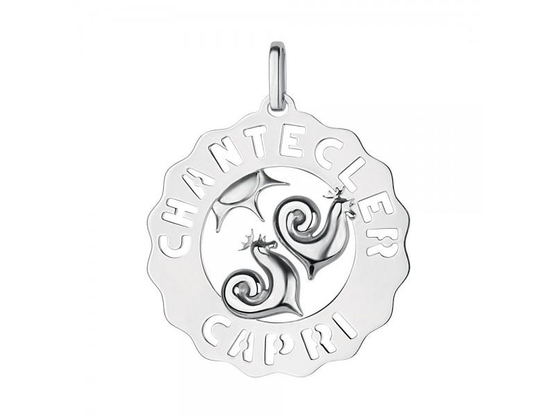Ciondolo Chantecler grande logo Galli e Sole in argento