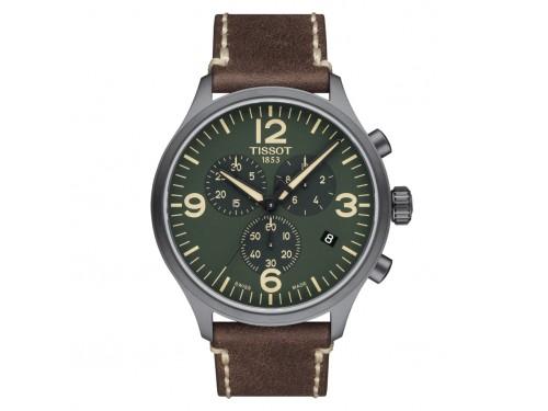 Orologio Tissot Chrono XL con Quadrante Verde e Cinturino in Pelle Marrone