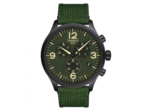 Orologio Tissot Chrono XL con Quadrante Verde e Cinturino in Tessuto Verde