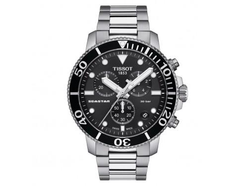 Orologio Tissot Seastar 1000 Chronograph con Quadrante Nero e Bracciale in Acciaio