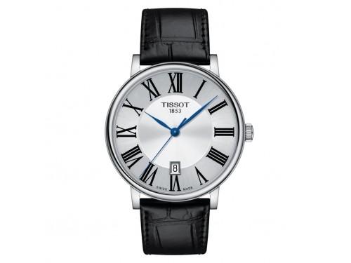 Orologio Tissot Carson Premium con Quadrante Argento e Cinturino in Pelle Nero