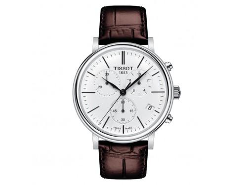 Orologio Tissot Carson Premium Chronograph con Quadrante Bianco e Cinturino in Pelle Marrone