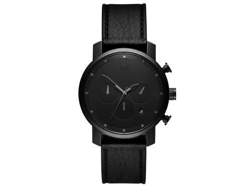 Orologio da Uomo MVMT Chrono Black Leather con Quadrante Nero e Cinturino in Pelle Nero