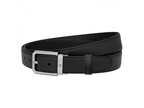 Cintura Montblanc Elegante in pelle nera con fibbia trapezioidale in acciaio satinato