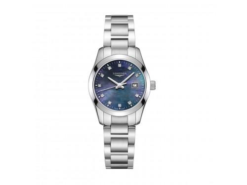 Orologio da Donna Longines Conquest Classic con Diamanti,  Quadrante in Madreperla Nera e Bracciale in Acciaio