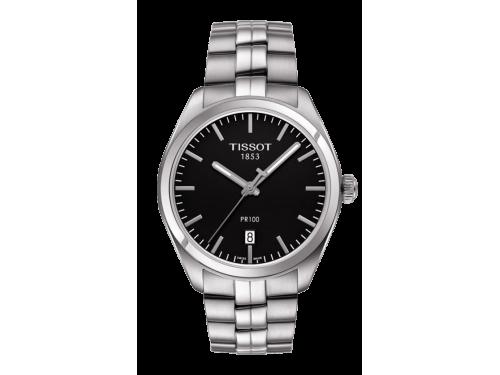 TISSOT orologio uomo PR 100 Gent quadrante nero cinturino in pelle