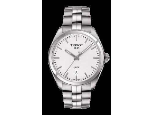TISSOT orologio uomo PR 100 Gent quadrante bianco cinturino in acciaio