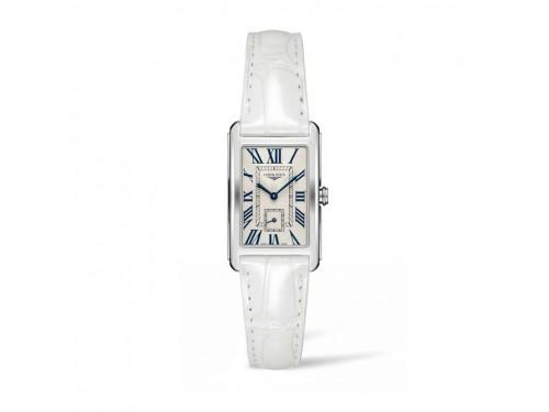 Orologio da Donna Longines DolceVita con Quadrante Argento e Cinturino in Pelle Bianco