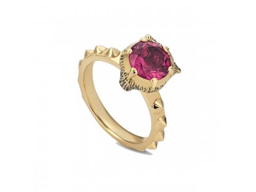 Anello Gucci Le Marché des Merveilles in Oro Giallo, con Tormalina Rosa e Diamanti con testa di Felino