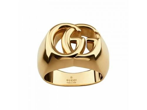 Anello da Mignolo Gucci Chevalier GG Running in Oro Giallo, Formato Grande