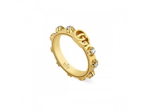 Anello Gucci GG Running in Oro Giallo con Diamanti Bianchi