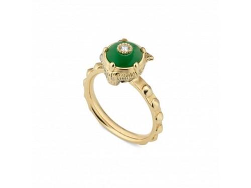 Anello Gucci Le Marché des Merveilles in Oro Giallo, con Giada Verde e Diamanti con testa di Felino