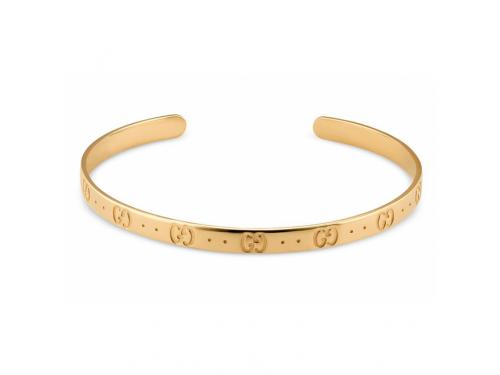 Bracciale Rigido Gucci Icon in Oro Giallo con Motivo Doppia G