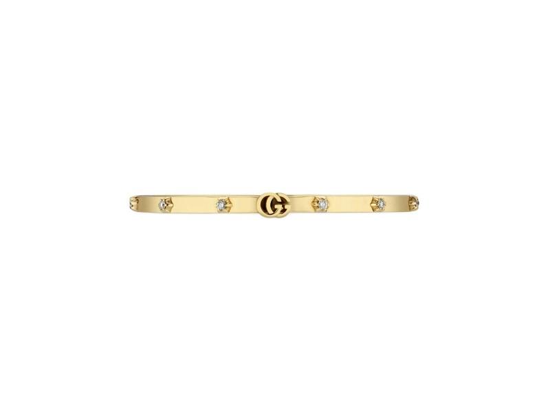 Bracciale Rigido Gucci GG Running in Oro Giallo e Diamanti Bianchi