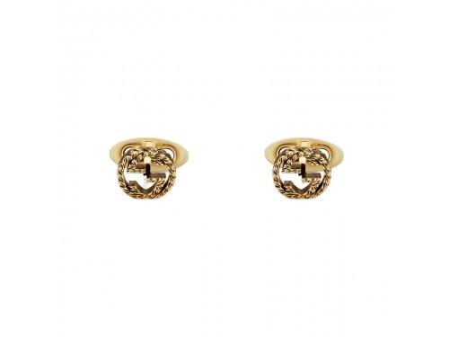 Gemelli Gucci Interlocking in Oro Giallo Lavorato con Detaglio GG