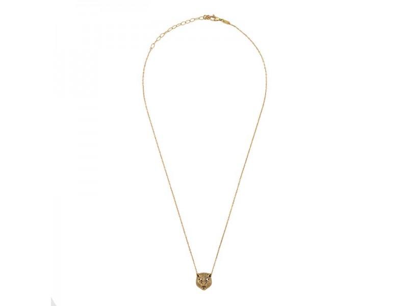 Collana Gucci Le Marché des Merveilles in Oro Giallo con Pendente Testa di Felino con Onice Nero e Diamanti