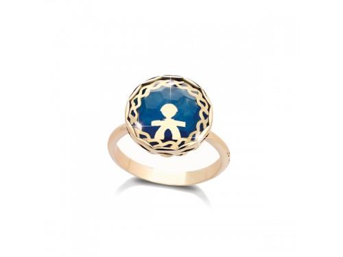 Anello da Mignolo Le Bebé in Oro Giallo con Bimbo, Giada Blu e Cristallo di Rocca