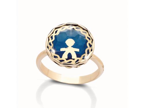 Anello Grande Le Bebé in Oro Giallo con Bimbo, Giada Blu e Cristallo di Rocca
