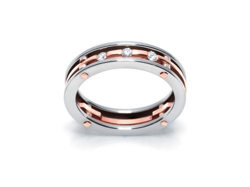Anello da Uomo Barakà in Oro Rosa e Acciaio con Diamanti Bianchi