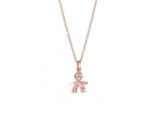 Ciondolo Maschietto in oro rosa e pavé di diamanti le briciole Le Bebé gioielli