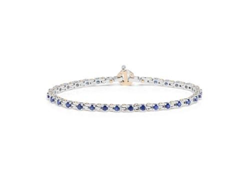 Bracciale da Uomo Barakà in Oro Rosa e Oro Bianco con Zaffiri Blu e Diamante Bianco