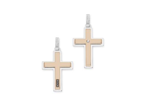 Croce Uomo Barakà in Oro Bianco e Oro Rosa con Diamanti Bianchi e Neri