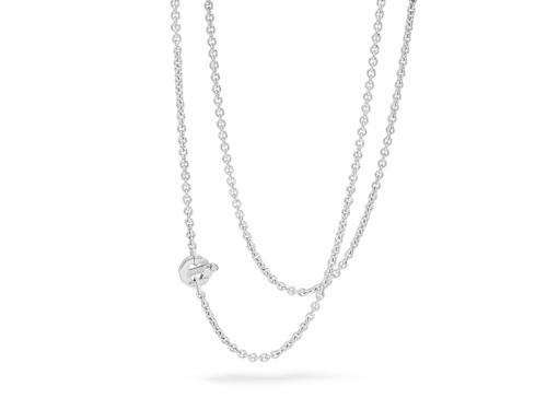 Girocollo da Uomo Barakà in Oro Bianco con Diamante Bianco