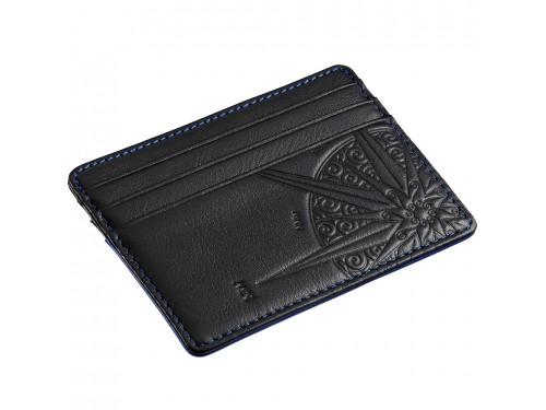 Porta Carte di Credito Zancan in Pelle Nera con Cuciture Blu e Rosa dei Venti