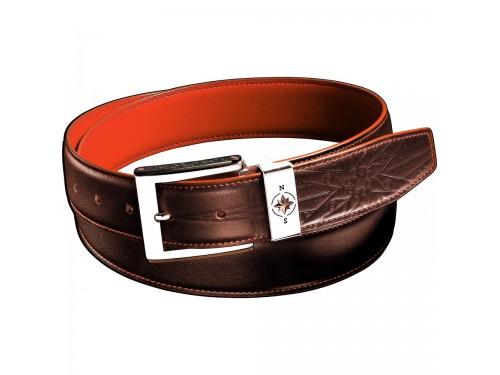Cintura da Uomo Zancan in Pelle Marrone con Interno Arancione