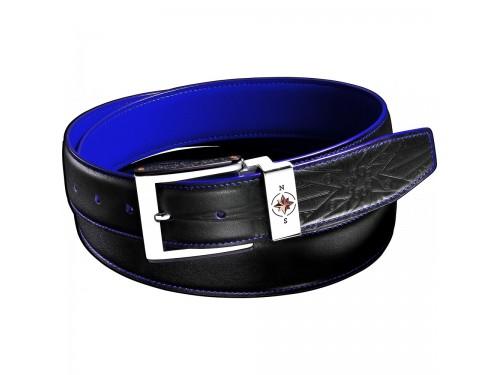 Cintura da Uomo Zancan in Pelle Nera con Interno Blu
