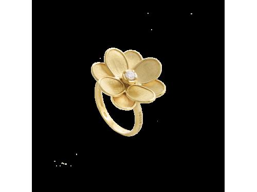 Anello Marco Bicego Lunaria con Fiore in Oro Giallo con Diamante