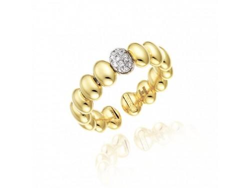 Anello Aperto Chimento Armillas Acqua in Oro Giallo con Diamanti Bianchi