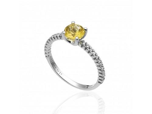 Anello Chimento Candies in Oro Bianco con Diamanti Bianchi e Citrino
