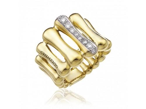 Anello Chimento Bamboo Over in Oro Giallo con Diamanti Bianchi