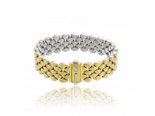 Bracciale Chimento Double Mosaico in Oro Giallo e Bianco con Diamante