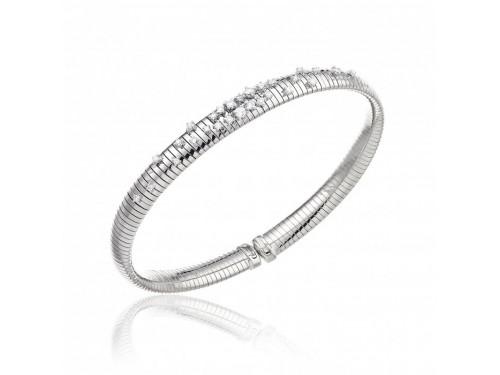 Bracciale Rigido Chimento Stardust in Oro Bianco con 28 Diamanti Bianchi