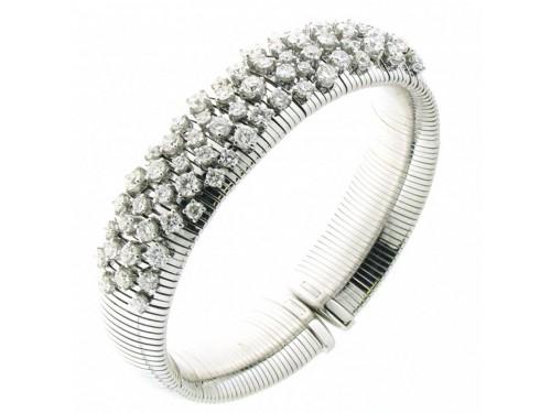 Bracciale Rigido Chimento Stardust in Oro Bianco con 73 Diamanti Bianchi