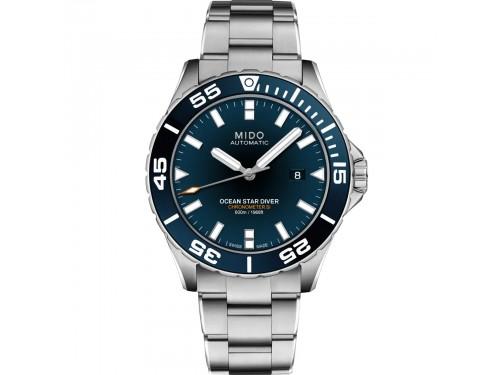 Orologio Mido Ocean Star Diver 600 con Quadrante Blu e Cinturino in Acciaio